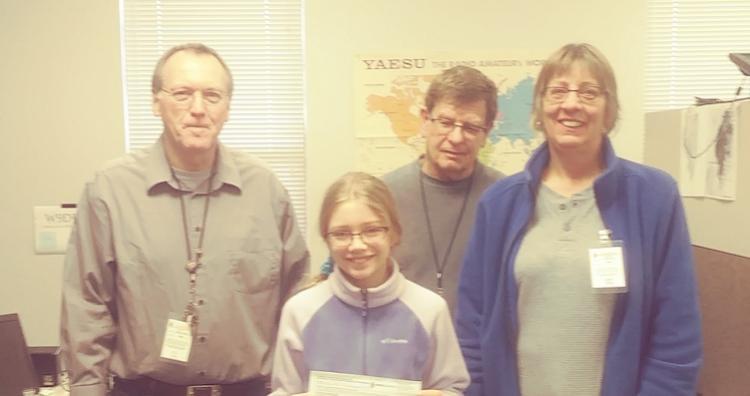Rachel with the three voluntary examiners W9EBK, KD9FZF, KD9FZI
