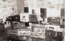 Second Station-1958.  One of first ten VHF SSB stations.  QSL cards pinned to the curtain!
